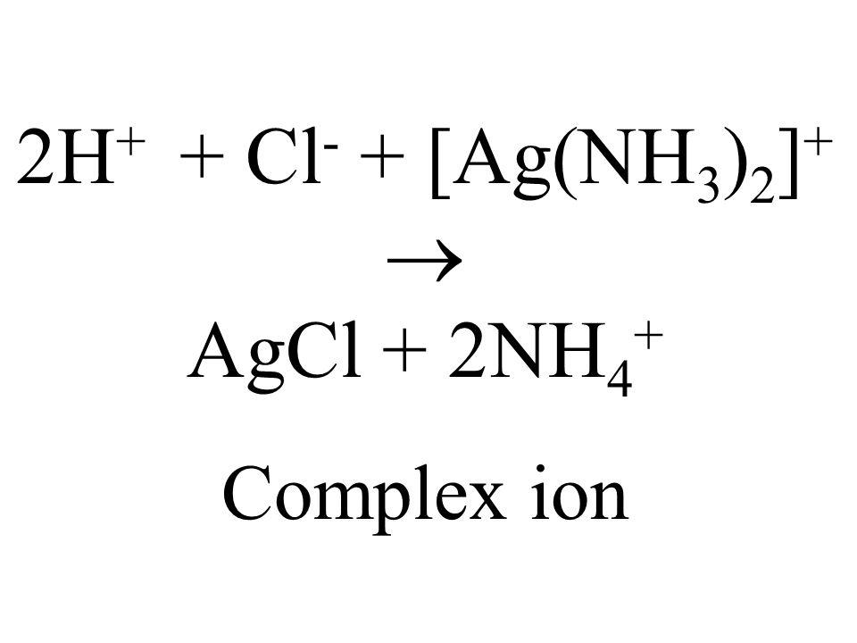 2H+ + Cl- + [Ag(NH3)2]+  AgCl + 2NH4+